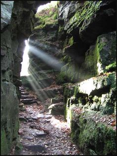 Secret Guide to hidden places in Britain. Lud's Church is a deep chasm penetrating the Millstone Grit bedrock created by a massive landslip on the hillside above Gradbach, Staffordshire, England. Hidden Places, Secret Places, Places To See, Mermaid Pool, Peak District, Scenic Photography, The Great Outdoors, Countryside, Cool Pictures