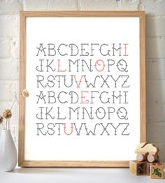 "Highlight your love with this typographic print. The letters resemble embroidery for a vintage touch. With ""I love you"" featured in coral pink… Letter Art, Dot And Bo, Loving U, Decoration, Girl Nursery, Diy Crafts, Art Prints, Crafty, Printer"