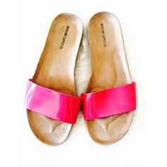 Bright Pink Patent Sandals, Size 5/6 Super fun, comfortable and stylish sandals! Never worn. The strap is that shiny patent material. Mossimo Supply Co. Shoes Sandals