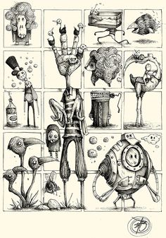 "PK_M Collection Series of Sketches made with ballpoint pen on paper. ""Little and quick Concepts for Great Ideas"" Cartoon Drawings, Cartoon Art, Drawing Sketches, Cool Drawings, Monster Drawing, Monster Art, Character Illustration, Illustration Art, Illusion Kunst"