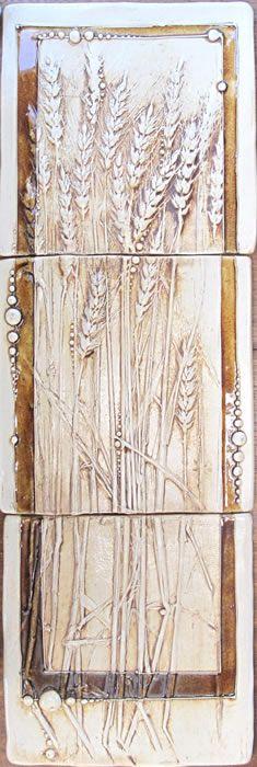 Carol Long Pottery. Three Wheat Tiles::6x6 $225