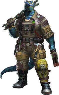 Reptilian space mechanic