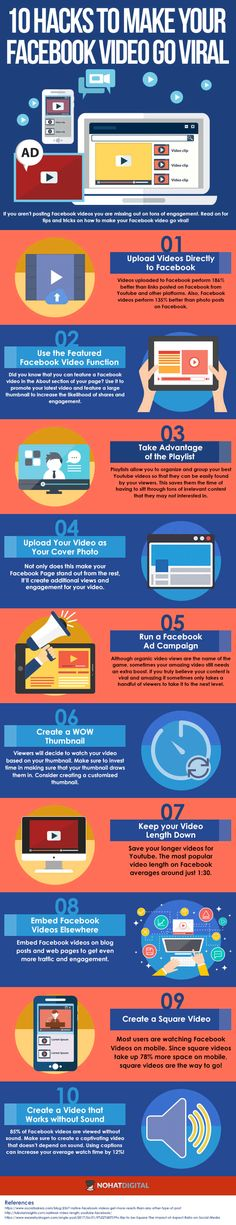Facebook marketing tips: Want your Facebook video to go viral? These 10 hacks will boost your success! Save the infographic to revisit often, and click to site for MORE social media marketing tips for small businesses and bloggers. #facebookmarketing #videomarketing #viralvids #smallbusinesstips #smm #socialmediamarketing