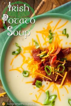 Irish Potato Soup Recipe, Perfect soup For A Cold Day, Pin Now! Enjoy this soup on St. Patrick's Day or any day! Irish Soup, Irish Potato Soup, Irish Potatoes, Best Potato Soup, Scottish Recipes, Irish Food Recipes, Dinner Recipes, Bacon Recipes, Vegitarian Soup Recipes