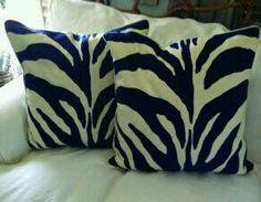 navy & cream zebra print pillows