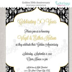 50th Anniversary DIY Invitation by whirligigspartyco on Etsy