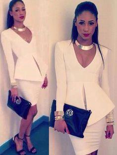 Women's Slim Fit White Long Sleeve Office OL Style Bandage Dress 2pcs Hip Package Dress Suit Set