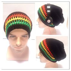 Designer mans mens unisex hand crocheted knitted striped oversized slouch  beanie snood hat a7a88c86bf89
