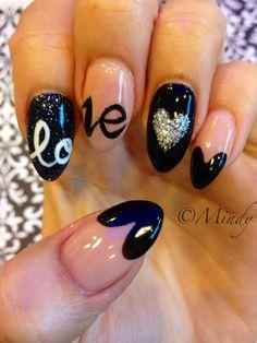 Valentine nails art on stiletto acrylic nails