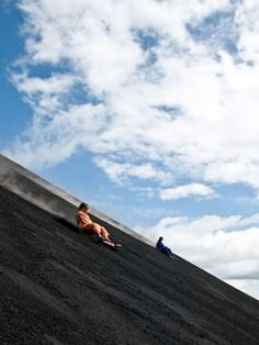 Volcano boarding in Nicaragua! This picture isn't me, but volcano boarding down (slash falling down) Cerro Negro is still hands down one of the best experiences I've ever had. Adventure Bucket List, Adventure Is Out There, Adventure Awaits, Adventure Travel, Places To Travel, Places To See, Beautiful World, Beautiful Places, Central America