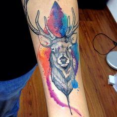 A tatuagem em estilo aquarela de Victor Octaviano   Tinta na Pele