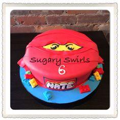 Lego ninja themed birthday cake created by Sugary Swirls Custom Birthday Cakes, Themed Birthday Cakes, Swirls, Ninja, Lego, Desserts, Food, Tailgate Desserts, Deserts