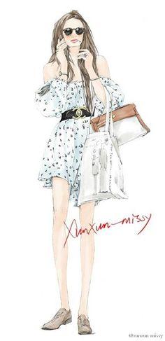 Diseño ilustrador de moda pintada a mano                                                                                                                                                      Más