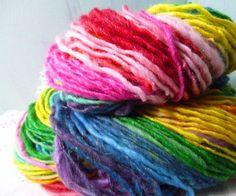 Handspun sparkling self striping rainbow wool yarn by jstforewe