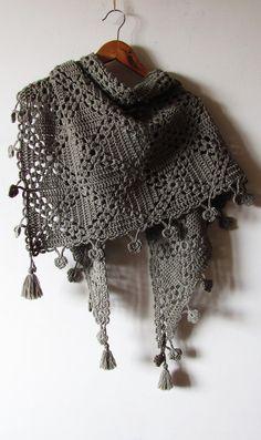 Crochet Flower Shawl - Handmade Hand Knit Wrap - Warm Winter Shawl - Made To Order Crochet Scarves, Crochet Shawl, Crochet Clothes, Hand Crochet, Hand Knitting, Knit Crochet, Crochet Capas, Triangle Scarf, Knit Wrap
