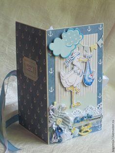 """Детские открытки ручной работы. Открытка и конверт для мальчика """"Малыш"""" (цвет…"""