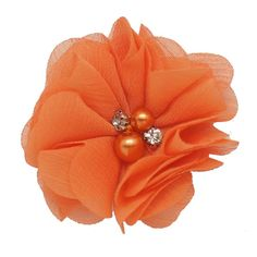 20 Color Sweet High Quality Fashion Chiffon Flower For Girls Infant Cute Rhinestone Pearl Without Clips DIY Hair Accessories