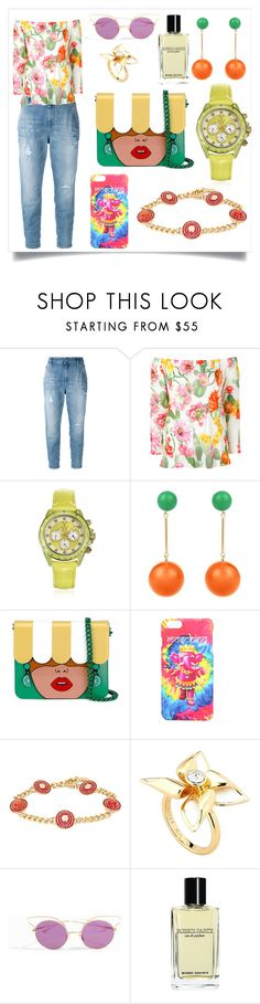 """Floral Blouse With Cropped Jeans..**"" by yagna ❤ liked on Polyvore featuring Diesel, Blugirl, Toy Watch, J.W. Anderson, Yazbukey, Moschino, Versace, Ted Baker, Dita and Bobbi Brown Cosmetics"