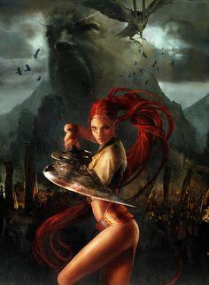 Nariko from Heavenly Sword Fantasy Art Women, Dark Fantasy Art, Fantasy Girl, Fantasy Artwork, Warrior Images, Heavenly Sword, Wolf, Art Village, Knight Art