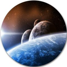 """DesignArt 'Space Planet Landscape' Graphic Art on Metal Size: 11"""" H x 11"""" W x 1"""" D"""