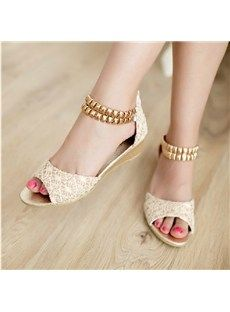 Casual Lace Flat Heels Peep Toe Shoes with Golden Chain Lace Flats, Peep Toe Flats, Wedge Shoes, Shoes Heels, Flat Sandals, Shoe Boots, Fashion Days, Everyday Fashion, Fashion Shoes