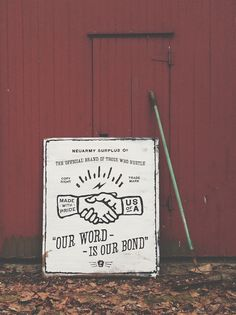 Word is Bond, hand-painted wood sign by neu army surplus