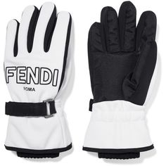 FendiTwo-tone Shell Ski Gloves (820 NZD) ❤ liked on Polyvore featuring accessories, gloves, white, fendi, white gloves, ski gloves and white ski gloves
