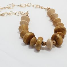 Handmade Faux wood beads handmade chain and clasp by PolyClayCafe