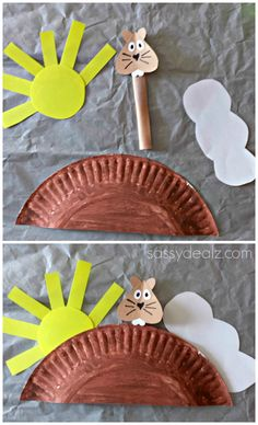 Groundhog Day Craft For Kids (Paper Plate) #Groundhog craft #Sun clouds #Shadow | CraftyMorning.com