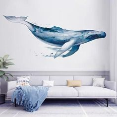 Whale Cartoon Animals Wall Sticker PVC Art Decal Sticker for Children Room Nursery Wall Decor Sticker Art, Wall Stickers Murals, Wall Murals, Wall Stickers Home Decor, Whale Painting, 3d Art, Decoration Stickers, Whale Art, Paintings