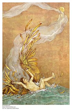 flight of icarus/Origin: Icarus had attempted to escape from Crete by means of wings that his father constructed from feathers and wax. He ignored instructions not to fly too close to the sun, and the melting wax caused him to fall into the sea where he drowned.