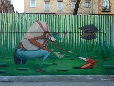 Extravagantes personajes de alargados brazos y piernas caracterizan a Chylo (plaza de la Cebada) - Madrid es puro street art