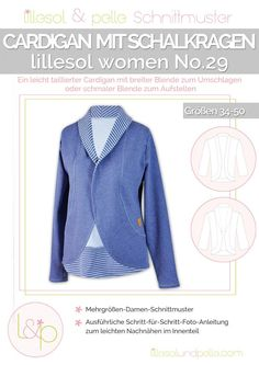 Ebook / Schnittmuster lillesol women No.29 Cardigan mit Schalkragen
