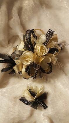 Black gold and ivory corsage set from Hen House Designs www.henhousedesigns.net