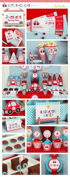 Race Car Birthday Party Package Personalized Printable Design by leelaaloo.com