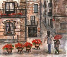 Original Urban city streets umbrella flowers girl landscape watercolour painting #UrbanArt