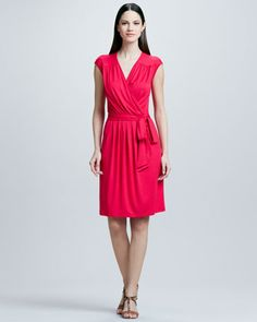 Faux Wrap Dress with Tie by Three Dots at Neiman Marcus.