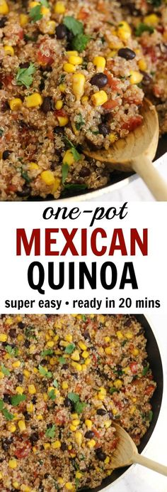 This one-pan Mexican quinoa has just five ingredients. No sautéing or chopping required- just dump the ingredients in the pan! This one-pan Mexican quinoa has just five ingredients. No sautéing or chopping required- just dump the ingredients in the pan! Mexican Food Recipes, New Recipes, Whole Food Recipes, Vegetarian Recipes, Cooking Recipes, Healthy Recipes, Vegan Quinoa Recipes, Quinoa Dinner Recipes, Healthy Mexican Food