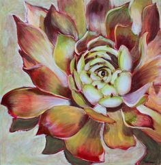 Acrylic flower painting techniques : Hens and Chicks