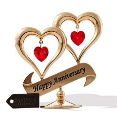 Matashi Gold-plated Red Crystal Happy Anniversary Double Heart Tabletop Ornament (Double Heart Anniversary w/Red Crystals), Gold (Iron) Happy Wedding Anniversary Wishes, Anniversary Banner, Anniversary Ideas, Anniversary Greetings, Anniversary Funny, 20th Anniversary, Wedding Wishes, Happy Birthday Greetings, Birthday Wishes
