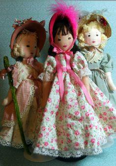 Edith Flack Ackley pattern dolls Made by Carole Bailey and Yolanda Montano of Dollways.