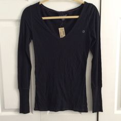 NWT Black V-neck long sleeve tee Never used! great condition! American Eagle Outfitters Tops Tees - Long Sleeve