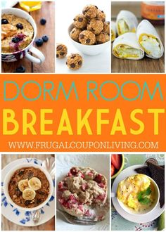 No question about what's for breakfast anymore. These No Bake Breakfast Dorm Room Recipes require no oven or stove top. Make and go recipes for college on Frugal Coupon Living.