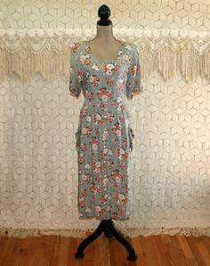 Plus Size 90s Dress XL Rayon Floral Grunge Spring by MagpieandOtis