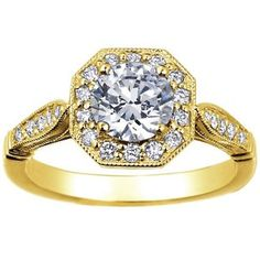 18k Yellow Gold Victorian Halo - I really like the sides on this one and the octagon around the round diamon is cool, elegant, pretty