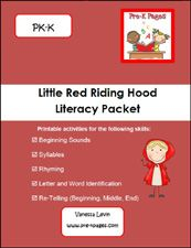Little Red Riding Hood Printable Literacy Packet for Preschool and Kindergarten via www.pre-kpages.com