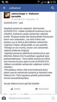Aleksis kivi peli Finnish Language, Pre School, Kindergarten, Teaching, Kindergartens, Education, Preschool, Preschools, Pre K