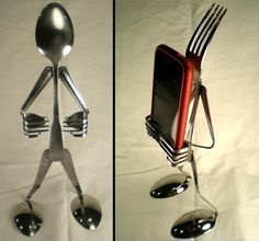 Recycled Cutlery iPhone Stands