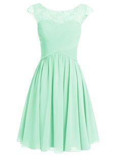 Dresstells® Short Prom Dress Scoop Bridesmaid Dress Chiffon Homecoming Gown Mint Size 6