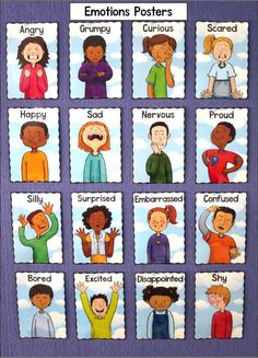 Feelings Posters - Emotions Posters - 16 Emotions Source by cleverchameleon Feelings Preschool, Teaching Emotions, Emotions Activities, Social Emotional Learning, Preschool Activities, Vocabulary Activities, Learning English For Kids, English Lessons For Kids, Feelings Chart